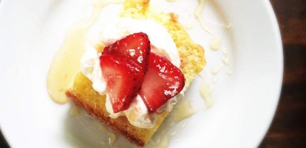 lemon pound cake with strawberries and vanilla whip cream