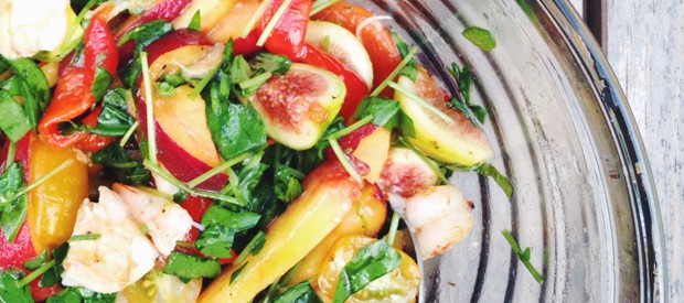 one bowl shrimp and fruit salad